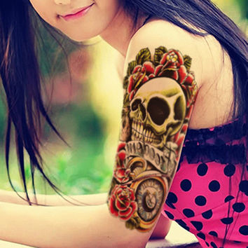 Skull and Flower Large Waterproof Temporary Tattoo Sleeve