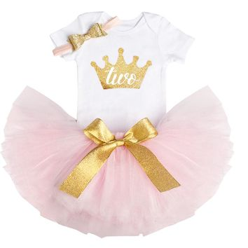 New Year Christmas Gift Bebes Second 2nd Birthday Dress Outfits Sets Tutu Cake Smash Baby Girl Clothes Suits Two Years Clothing