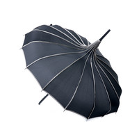 Black & Polka Dot Trim Pagoda Umbrella