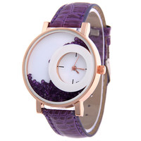 Colorful Quicksand Small Dial Leather Watch