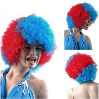 Color Contrast Disposable Short Curly Wig (Blue & Red)