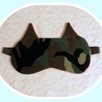 Camo Cat Sleep Mask - Pink Soft Fleece - Woodland Brown Camo Eye Cover - Cute Cotton - Flexible Foldable - Gift for Woman - Girl - Teen