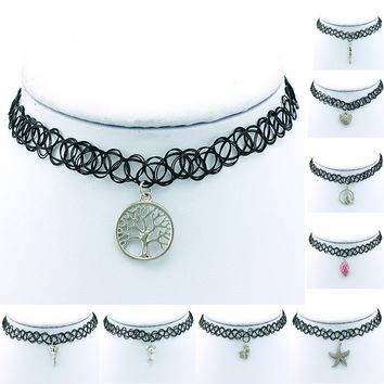 Multi-Layered Network Charms Choker and Necklace