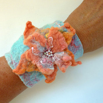 Beaded Cuff Bracelet Wide Fashion Cuff Rustic Apricot by sesenarts
