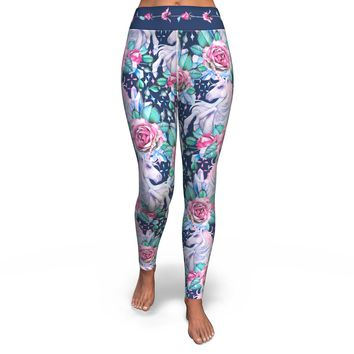 Yoga Pants All-Over 2nd Design Unicorn Roses