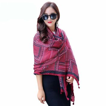 Beautiful Wrap plaid tassel shawl Scarf