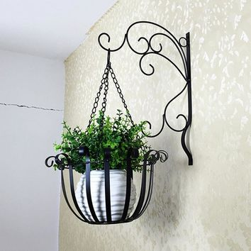 Vintage Iron Wall Mounted Hanging Flowerpot