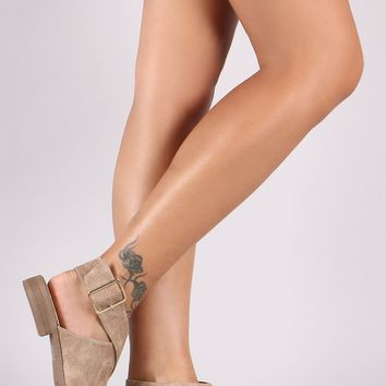 Qupid Distressed Pointy Toe Crisscross Ankle Strap Booties