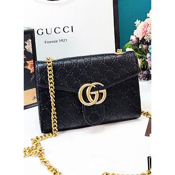 GUCCI Fashion New More Letter Leather Chain Shopping Leisure Shoulder Bag Crossbody Bag Women Black