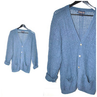 dusty blue CARDIGAN vintage 80s 90s UNISEX lose knit LINEN blend button down oversized sweater os medium