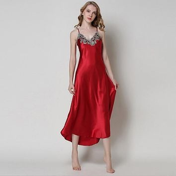 Ladies Sexy Silk Satin Nightgown Sleeveless Nighties Long Nightdress V-neck Sleep Shirt Summer Night Dress Nightwear For Women