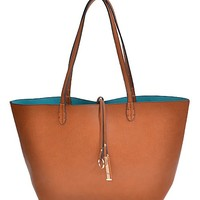 Twice as Nice Reversible Handbag - Cognac & Robins Egg | Accessories | Kiki LaRue Boutique