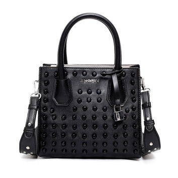 Leather Rivet Short Handle Handbag