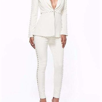 White Buttons Pant Suit