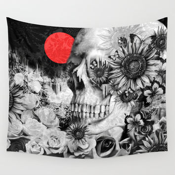 Fire in the dark, nature skull Wall Tapestry by Kristy Patterson Design