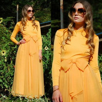 60s 70s Maxi Dress, Long Sleeve Tangerine Dream Miss Elliette 60s Mod Dress, Peach Chiffon Dress w/ Bow, Evening Gown Bridesmaid Formal Prom