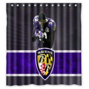 Vixm Home Baltimore Ravens Shower Curtains Movies Symbol Waterproof Fabric Bathroom Curtains 66x72 inch