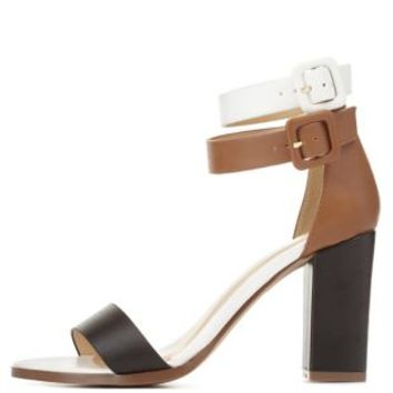 Color Block Chunky Heel Sandals by Charlotte Russe