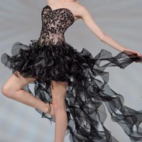PRIMA C130211 Black High Low Prom Dress