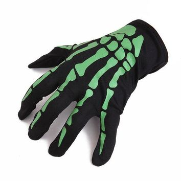 DCCKU7Q 2017 Fashion New Halloween Skull Bone Skeleton Goth Racing Full Finger Gloves White Green luvas de inverno High Quality