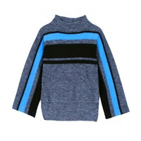 Tibi Cape Pullover - Blue & Grey Striped Cape Sweater - ShopBAZAAR