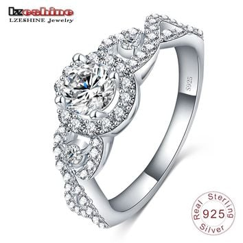 LZESHINE Engrave Name New Collection 925 Sterling Silver Brilliant Stackable Ring Clear CZ Ring Fine Jewelry Anillos
