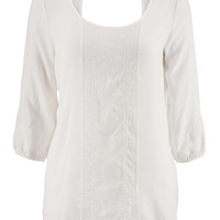 Lightweight Embroidered Front Top - White