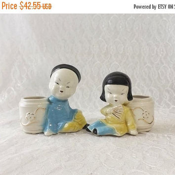 Asian Boy and Girl Planter Pots, Mid Century Pottery, Joan Lea Creations, Vintage Vases with 22 Kt Gold