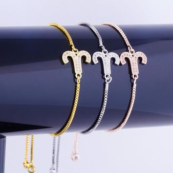Aries Connector Brass Charm Bracelet