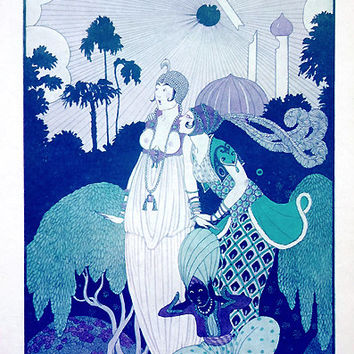 "1915 Rare Vintage French Illustration Print - Oriental Scenery / Tropical Trees / Exotic Dress / Supernatural - ""Dans les Jardins d'Orient"""