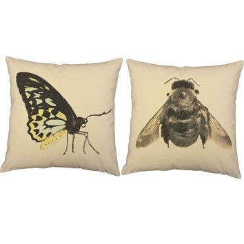 Victorian Insects - 2pc Throw Pillow Cover/Cushion Set