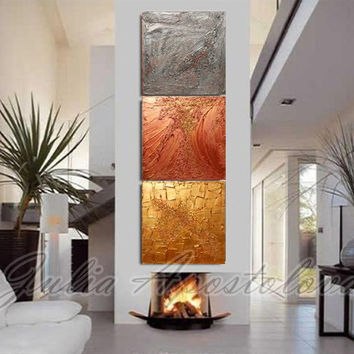 Original painting, Gold Abstract Triptych painting, Huge Art, Large Abstract, Siver, Copper, Gold home and office decor, Julia Apostolova