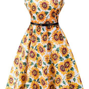 Atomic 1950's Sunflower Dress With Belt