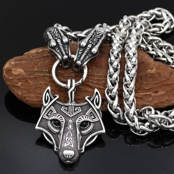 Men Stainless Steel Viking Dragon Head with Goat Thor's Hammer Wolf Pendant Necklace