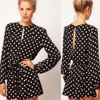 2014 new fashion women black polka dot Jumpsuit long sleeve open back dress casual mini dresses plus size