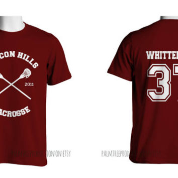 Whittemore 37 CROSS Beacon Hills Lacrosse Wolf Men Short Sleeves Maroon Tshirt tee