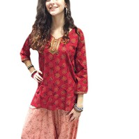 Mogul Womans Indian Tunic Top Red Printed Stylish Bohemian Hippie Blouse Shirt S