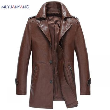 Casual Men Long Leather Jacket Single Breasted Fur Clothing Men Faux Leather Coats High Quality Jackets