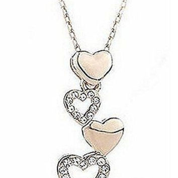 Bamoer 18k Gold Plated and AAA Zircon Row of Heart Womens Necklace [Jewelry]
