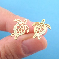 Sea Turtle Tortoise Shaped Stud Earrings in Gold | DOTOLY