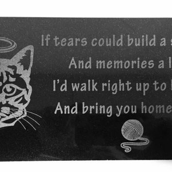 3D Laser Engraved Black Granite Stone Dog Cat Pet Headstone Grave Marker Garden Plaque Memorial 12 x 6 inches (Cat)