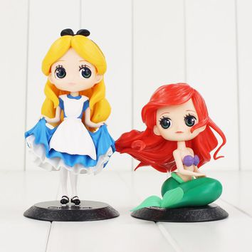 2styles 10-15cm Cartoon Alice in Wonderland Alice Mermaid Ariel Qposket PVC Action Figure Anime Dolls Birthday Gift