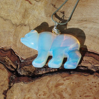 Opalite Polar Bear Necklace ~ Opal Bear Necklace ~ Opal Stone necklace ~ Polar Bear Necklace ~ Winter Gift ~ Birthday Gift ~ Anniversary