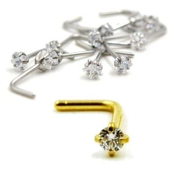 ac PEAPO2Q Isayoe Nose Ring L Shape Twist Screw Star Zircon Titanium Surgical Stainless Steel Cartilage Wrap Tragus Ear Piercing Jewelry