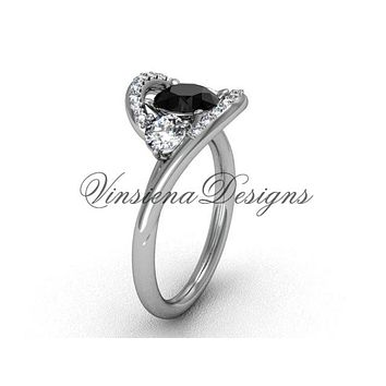 Unique 14kt white gold wedding ring, engagement ring, Black Diamond VD8166