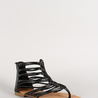 Leatherette Strappy Woven Flat Thong Sandal