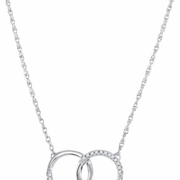 10kt White Gold Women's Round Diamond Interlocking Double Circle Pendant Necklace 1-10 Cttw - FREE Shipping (US/CAN)