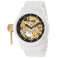 Invicta 1923 Men's Russian Diver Lefty Gold Tone Skeleton Dial White Ceramic Mechanical Watch