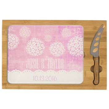 Custom Floral Pink Topiary Pom Poms Cheese Board Rectangular Cheese Board