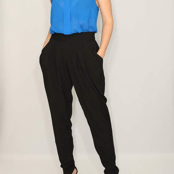 Black Harem Pants Career pants Double Draped Pockets